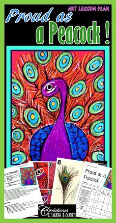 Art Lesson Plan: Proud as a Peacock Peacock Drawing, Peacock Art, Drawing Lessons For Kids, Art Lessons, Classe D'art, Feather Art, School Art Projects, Pastel Art, Art Lesson Plans