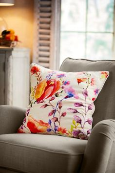 Bring the garden indoors. Abloom with vibrant poppies, hyacinths and flowering branches, our pillow is cast in brilliant shades of rose, violet, coral and gold. We digitally printed this painterly floral on a ground of plush, cream-colored cotton velvet to soften the look (and feel) even more.  Wild Flower Velvet Pillow - Item #6AF75