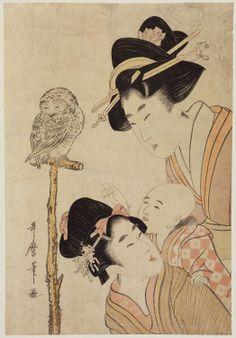 Kitagawa Utamaro  Title:Women, Baby, and Owl on Perch  Date:1804  #japan_painting #Kitagawa_Utamaro