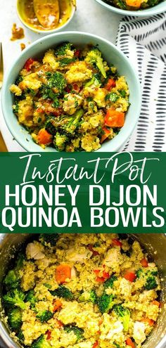 These Instant Pot Honey Dijon Chicken Quinoa Bowls are a simple and tasty meal prep lunch idea that you can make ahead for the work week - the secret sauce is honey mustard so you can make this recipe using mostly pantry staples! || Eating Instantly #instantpot #instantpotrecipes #healthyinstantpotrecipes #quinoa #quinoarecipes #easydinnerrecipes