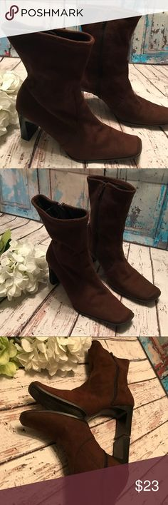 Chocolate Suede Fabric Heeled Booties Chocolate Suede Fabric Heeled Booties Gently Loved  Size 7 Gorgeous ❤️ Predictions Shoes Ankle Boots & Booties
