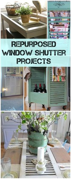 Repurposed Window Shutter Projects Gotta love 'em… it seems like window shutters kinda started the DIY project generation, didn't they? I remember that being one of the first DIY projects I was drawn to…. Old Shutters, Window Shutters, Repurposed Shutters, Vintage Shutters, Bedroom Shutters, Exterior Shutters, Window Frames, Repurposed Items, Repurposed Furniture