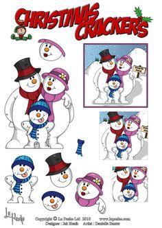 3D Snowman Family
