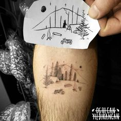 camp tattoo by Ogulcan YILDIRANCAN : ogulcantattooer tattoo cute mountain bear tree forest minimal camp camping motorcycle Nature Tattoos, Life Tattoos, Cool Tattoos, Tatoos, Small Tattoos For Guys, Tattoos For Women, Forrest Tattoo, Motorcycle Tattoos, Mountain Tattoo