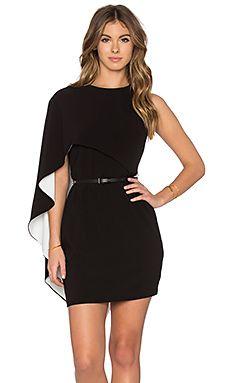 Halston Heritage Asymmetrical Sleeve Mini Dress in Black & Eggshell