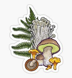 'mushroom forest' Sticker by smalldrawing Printable Stickers, Cute Stickers, Food Stickers, Phone Stickers, Mushroom Tattoos, Mushroom Art, Canvas Prints, Art Prints, Transparent Stickers