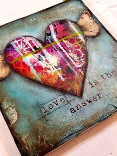 Mixed Media Blog Article - Love is the Answer Canvas - #journaling #quotes #motivational #positivity #collage #visionboardideas #vintage