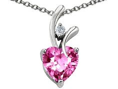 Heart Shaped 8mm Created Pink Sapphire Pendant in Sterling Silver
