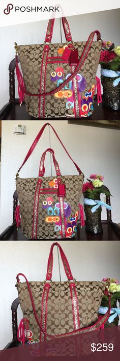 "RARE COACH POP C POPPY LARGE SPOTLIGHT BAG Rare & limited COACH POP C POPPY LARGE SPOTLIGHT BAG Color: Khaki Multi (MSRP: $368+TAX) 12 "" (W) X 14 "" (H) X 5"" (D),Double straps with 8"" drop,Interior has a zip pocket and cellphone/multifunction pockets,Fabric contrast lining,Ring to clip an accessory or keyfob, Signature jacquard fabric with graphic Coach monogram decal,patent leather and glitter trimO utside front zip pocket,Top zipper closure,Brass hardware,Detachableshoulder strap with 18""…"
