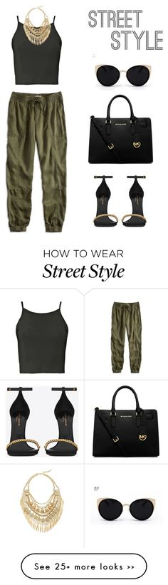"""Street style"" by jessicaf5987 on Polyvore featuring Lucky Brand, Boohoo, Yves Saint Laurent, Cara, MICHAEL Michael Kors and Una-Home"