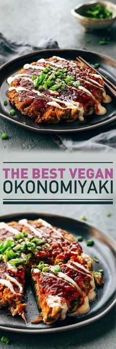 The Best Vegan Okonomiyaki - Perfectly tender Okonomiyaki that is loaded with shredded cabbage, marinated sesame jackfruit, and green onions. Sweet, spicy, and tangy, Okonomiyaki is a flavorful and hearty meal!
