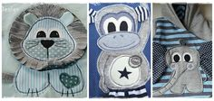Nähanleitungen Kind - 3er Set Applikationsvorlage Löwe, Elefant, Affe - ein Designerstück von tilu-design bei DaWanda
