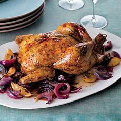Aleppo-Pepper-and-Mint Roasted Chicken // More Delicious Roast Chicken Recipes: http://www.foodandwine.com/slideshows/roast-chicken #foodandwine