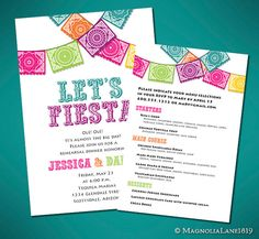 Fiesta Wedding Rehearsal Invitation Cards - Customized Printable Invites