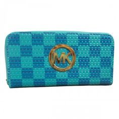Michael Kors Knitted Logo Large Blue Wallets