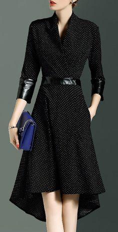4 Sleeve High Waist Synthetic Leather Patchwork Asymmetrical A-Line Dress