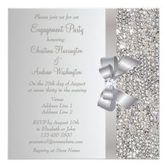 Silver Sequins, Bow & Diamond Engagement Party 5.25x5.25 Square Paper Invitation Card