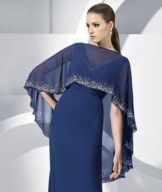 2012 Absorbing Deep Blue Chiffon Empire Waist Cheap Simple Design Evening Dress