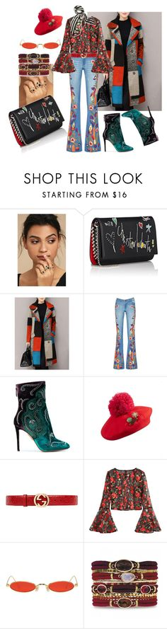 """""""Embroidered from head to toe"""" by p0llyinurpocket ❤ liked on Polyvore featuring LULUS, Christian Louboutin, WithChic, Alice + Olivia, Aquazzura, Gucci, Gentle Monster and Texas and the Artichoke"""
