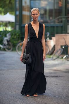 Street Style. Long black dress. Always a great piece to have.