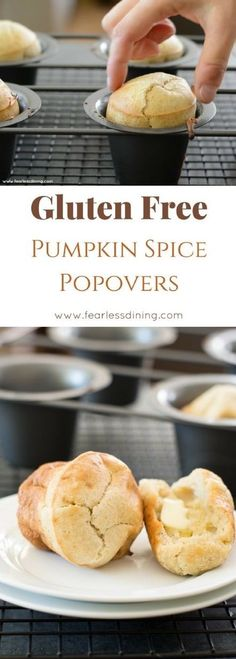 Puffy pumpkin spice gluten-free popovers are fun to eat! It is so easy to make gluten-free popovers, step by step instructions and VIDEO! Recipe at www.fearlessdining.com #glutenfreepopover #pumpkinspice #popover via @fearlessdining