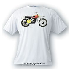Husqvarna 400 cross 1971 motocross motorcycle vintage image t-shirt racing by artonstuffdesigns on Etsy