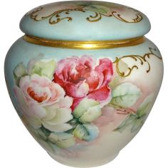 Antique French Limoges Biscuit Jar with Hand Painted Roses
