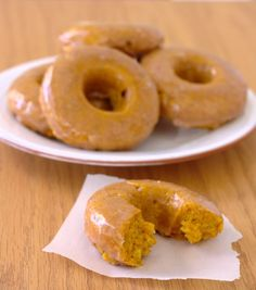 Baked Pumpkin Doughnuts with Spiced Buttermilk Glaze