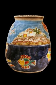 Decorative vase with fishing scene. For decoration purposes only