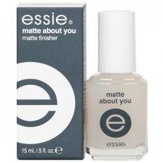 Essie Matte About You Matte Finisher creates a matte finish with any nail color you choose. From light sheer colors to dark crème, Matte About You leaves a smooth, durable matte finish and adds new dimension and texture. .5 oz. $5.50 | @Kimberly Hersey I have this and it works great - everything can be matte