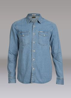 Emmett Willis #Carlings Denim Button Up, Button Up Shirts, Men's Collection, Blue, Tops, Fashion, Moda, Fashion Styles, Chemises