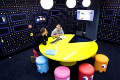 Pac Man Table, Inky, Blinky, Pinky, & Clyde Ghost Chairs - at the Coolblue HQ offices in the Netherlands Arcade Room, Startup Office, Corporate Offices, Video Game Rooms, Teen Game Rooms, Man Office, Office Fun, Ghost Chairs, Game Room Design