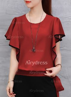 Blusas Informal Manga corta Cuello redondo Liso - Airydress Corsage, Looks Plus Size, Shirt Skirt, Dress And Heels, Fashion Over 40, Womens Fashion For Work, Casual Tops, Outfits For Teens, Street Style Women