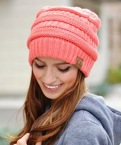 Look at this Coral Ribbed Beanie on #zulily today!