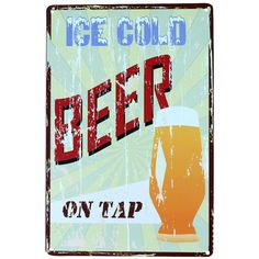 "Vintage Metal Sign ""Ice Cold..."" Pub Wall Decor"