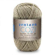 Zealana - Cozi Sock yarn. $16 Composition: 58% Merino, 15% Brush-tail Possum, 20% Nylon, 5% Baby Alpaca and 2% Elastic Nylon Weight: Sock/4-ply Ball size: 50g Meterage: 170 metres : 186 yards Tension: 28 stitches and 40 rows over 10cm Needle size:  US 1 : 2.25mm  Washability: Handwash, do not iron, dry flat