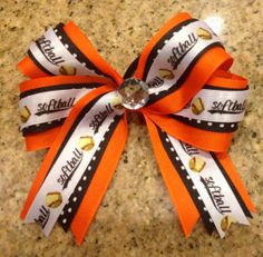 Boutique Softball Hair Bow MTM School or Team by TwinkeesBowtique handmade by me, $6.00