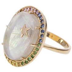 Andrea Fohrman Large Mother Of Pearl And Sapphire Galaxy Ring ($3,900) ❤ liked on Polyvore featuring jewelry, rings, hand crafted rings, rainbow ring, oval sapphire ring, galaxy ring and handcrafted jewellery