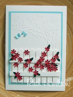 A Passion For Cards: Border system fence...love this idea with my picket fence punch and tree embossing foders