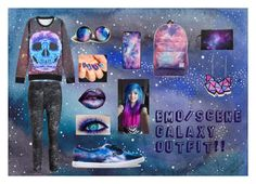 """Emo/scene Galaxy Outfit!!"" by grey-daray ❤ liked on Polyvore featuring Vans, BlissfulCASE and Calvin Klein Performance"