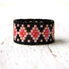 Unusual ring band Wide band ladies ring Statement by HappyBeadwork