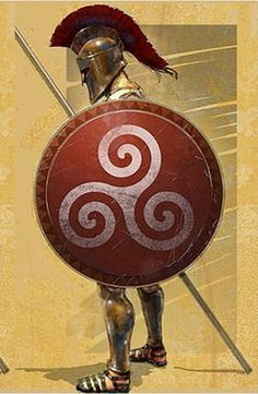 Hoplon - Anicent Greek Shield - A large & heavy round shield about 1 mtr in diameter, weighing 7-10 kgs. Hoplon was vital in the famous Greek phalanx formation which created a massive shield wall to make frontal attacks difficult for the enemy. It was also used to carry the dead and wounded from the battlefield. Losing it was considered a disgrace which is why women told their husbands: 'come back with your shield or on it'.