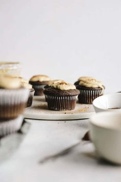 Coffee in cupcakes? These Vegan Espresso Cupcakes are made with espresso powder and topped with a cinnamon tahini icing that you have to try. Vegan Cupcakes, Baking Cupcakes, Vegan Cake, Cupcake Recipes, Cupcake Cakes, Dessert Recipes, Vegan Sweets, Vegan Desserts, Vegan Recipes