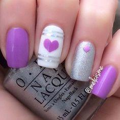 Purple Heart nail art by Melissa