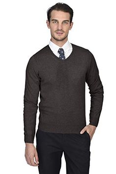Smeiling Men Knit V-Neck Sweater Solid Casual Slim Fit Pullover Sweater Tops