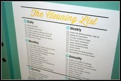 The Household Cleaning List Printable PDF