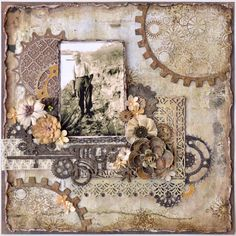 Grandpa ~ Masculine heritage collage page with great layering of elements and Steampunk gears.