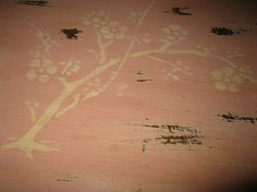Pretty pink table with stencil on top, already sold. Annie Sloan Chalk Paint, Old White mixed with a bit of Primer Red.