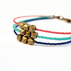Desert Sunset Modern Friendship Bracelet // Coral, Turquoise, and Royal Blue Seed Bead Bracelet with Brass Bead Charms