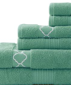 Look at this #zulilyfind! Jade Quatrefoil Embroidered Towel Set #zulilyfinds